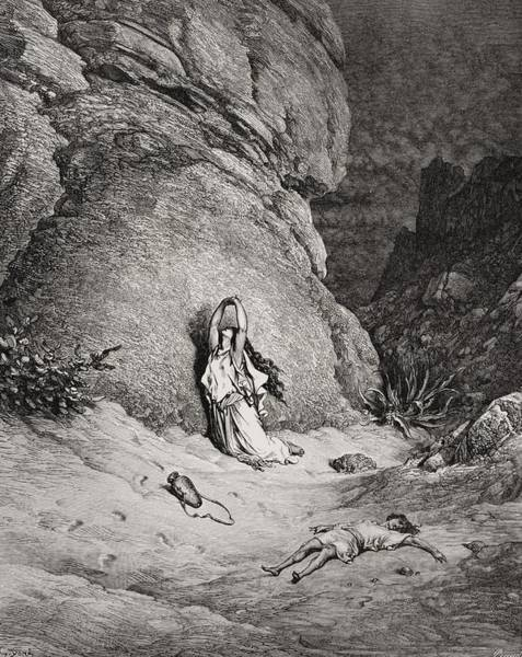 Barren Painting - Hagar And Ishmael In The Desert by Gustave Dore
