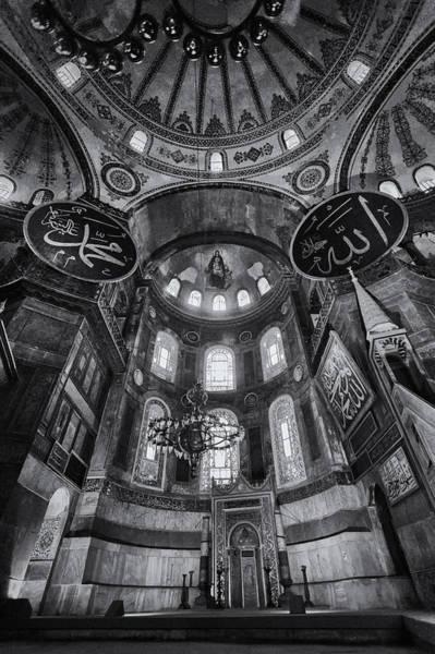Sophia Photograph - Hagia Sophia Interior - Bw by Stephen Stookey