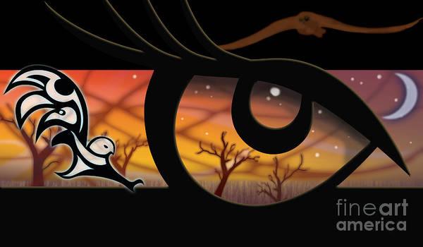 Raven Digital Art - Haida Owl Raven Digital Illustration Owl Eyes by Sassan Filsoof