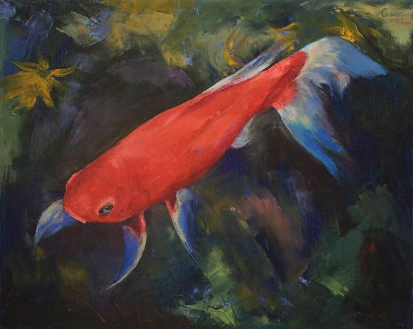 Wall Art - Painting - Haiku Koi Fish by Michael Creese