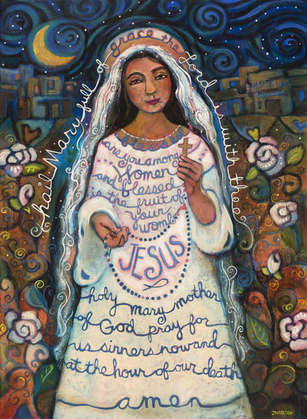 Folk Painting - Hail Mary by Jen Norton