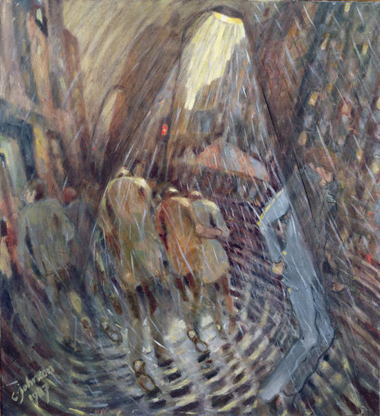 Wall Art - Photograph - Hail On Sixth Avenue, New York City, 1987 Oil On Canvas by Charlotte Johnson Wahl
