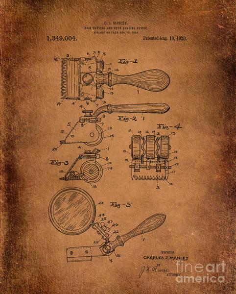 Digital Art - Hair And Neck Shaver 1920 Patent Art Antiqued by Lesa Fine