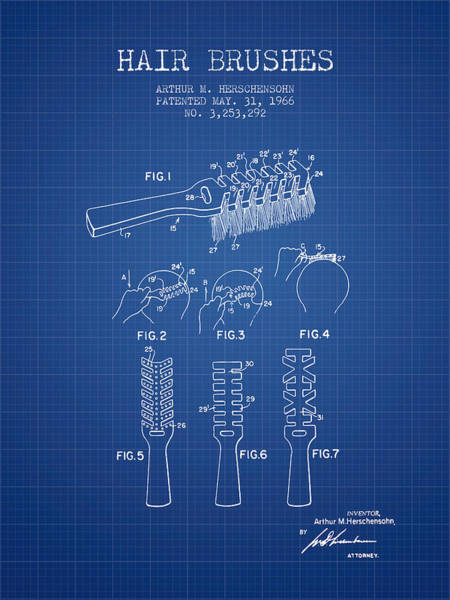 Wall Art - Digital Art - Hair Brush Patent From 1966 - Blueprint by Aged Pixel