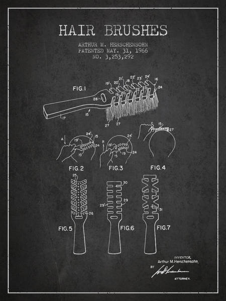 Wall Art - Digital Art - Hair Brush Patent From 1966 - Charcoal by Aged Pixel