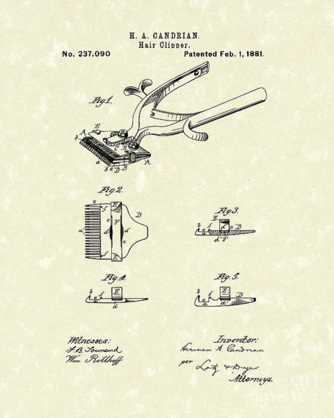Drawing - Hair Clipper 1881 Patent Art by Prior Art Design
