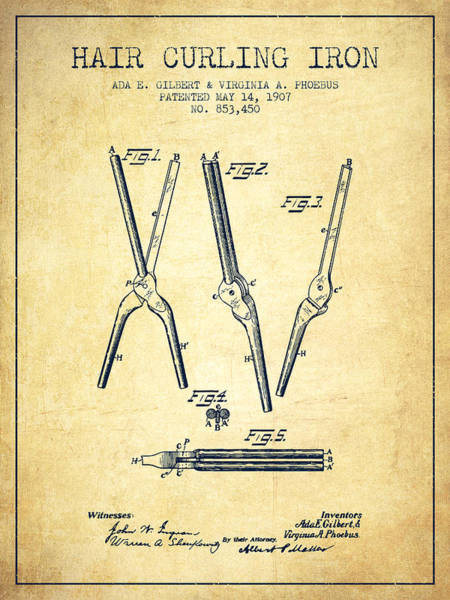 Wall Art - Digital Art - Hair Curling Iron Patent From 1907 - Vintage by Aged Pixel
