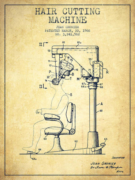 Shops Digital Art - Hair Cutting Machine Patent From 1966 - Vintage by Aged Pixel