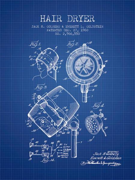 Wall Art - Digital Art - Hair Dryer Patent From 1960 - Blueprint by Aged Pixel