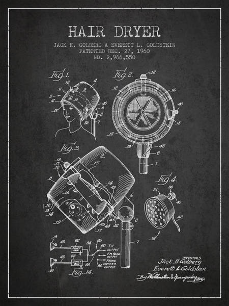 Wall Art - Digital Art - Hair Dryer Patent From 1960 - Charcoal by Aged Pixel