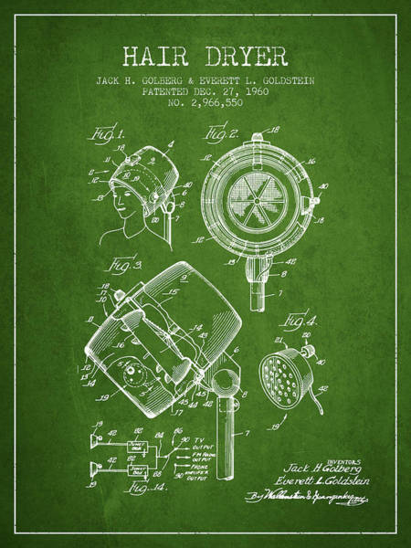 Wall Art - Digital Art - Hair Dryer Patent From 1960 - Green by Aged Pixel