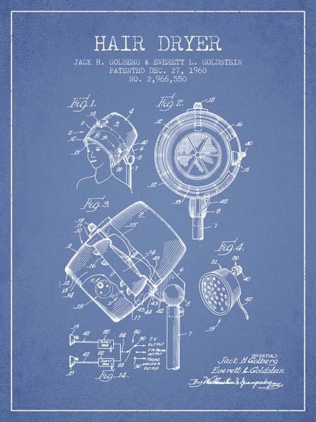 Wall Art - Digital Art - Hair Dryer Patent From 1960 - Light Blue by Aged Pixel