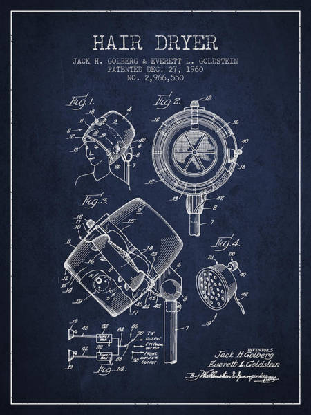 Wall Art - Digital Art - Hair Dryer Patent From 1960 - Navy Blue by Aged Pixel