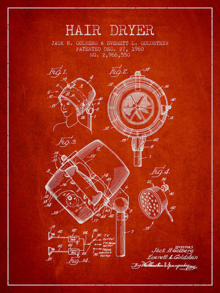 Wall Art - Digital Art - Hair Dryer Patent From 1960 - Red by Aged Pixel