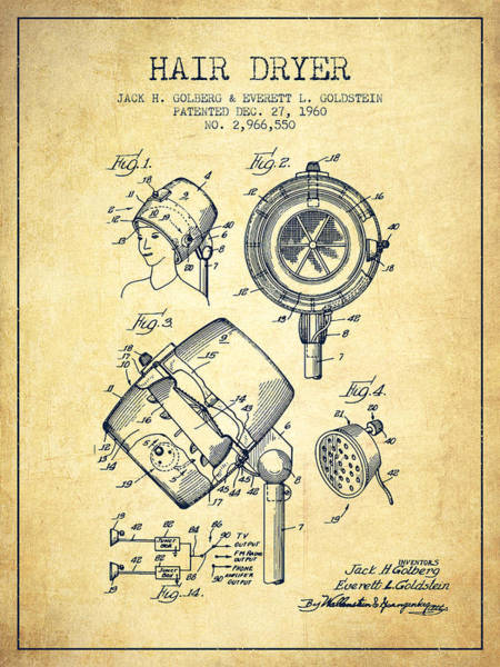 Wall Art - Digital Art - Hair Dryer Patent From 1960 - Vintage by Aged Pixel