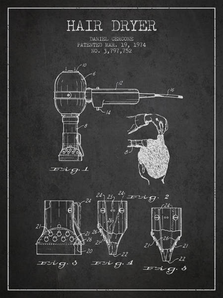 Wall Art - Digital Art - Hair Dryer Patent From 1974 - Charcoal by Aged Pixel