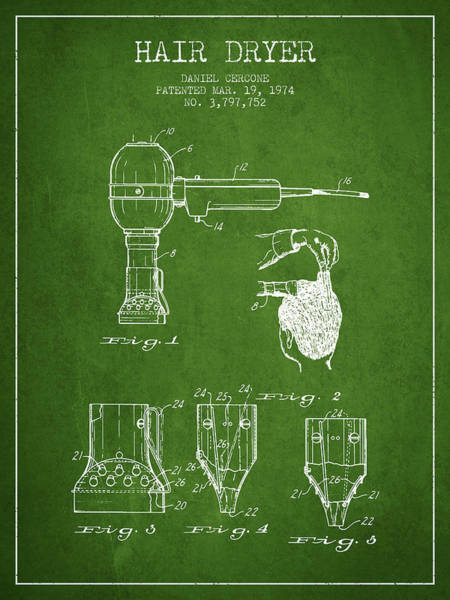 Wall Art - Digital Art - Hair Dryer Patent From 1974 - Green by Aged Pixel
