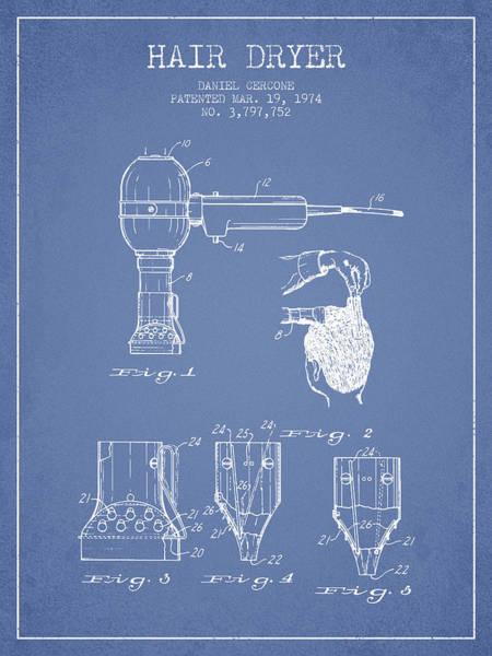 Wall Art - Digital Art - Hair Dryer Patent From 1974 - Light Blue by Aged Pixel
