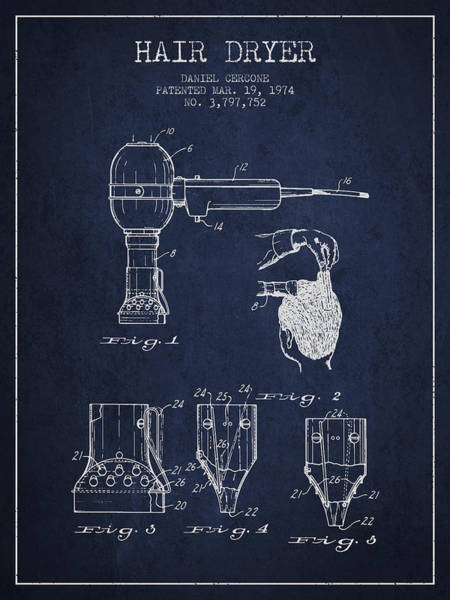 Wall Art - Digital Art - Hair Dryer Patent From 1974 - Navy Blue by Aged Pixel
