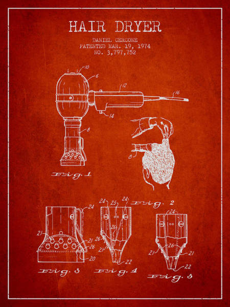 Wall Art - Digital Art - Hair Dryer Patent From 1974 - Red by Aged Pixel