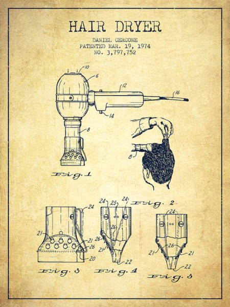 Wall Art - Digital Art - Hair Dryer Patent From 1974 - Vintage by Aged Pixel