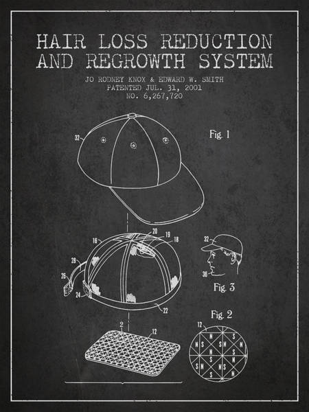 Wall Art - Digital Art - Hair Loss Reduction And Regrowth System Patent - Charcoal by Aged Pixel