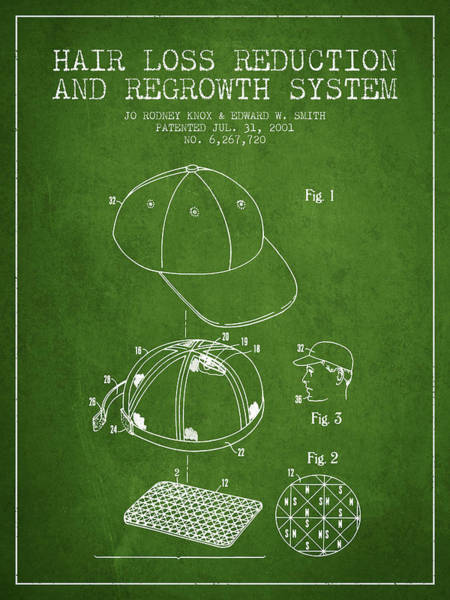 Wall Art - Digital Art - Hair Loss Reduction And Regrowth System Patent - Green by Aged Pixel