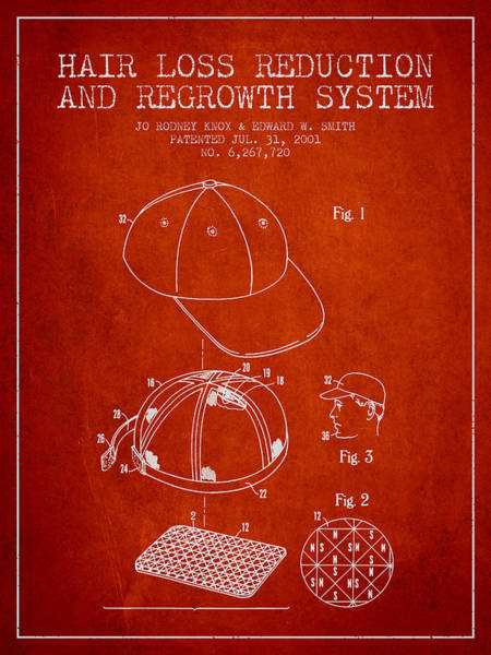 Wall Art - Digital Art - Hair Loss Reduction And Regrowth System Patent - Red by Aged Pixel