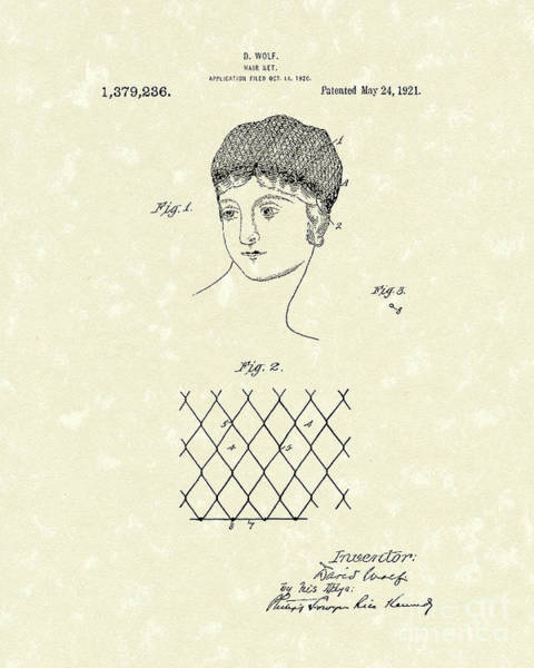 1921 Wall Art - Drawing - Hair Net 1921 Patent Art by Prior Art Design