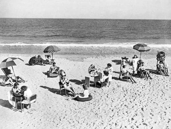 Manicure Wall Art - Photograph - Hair Salon On The Beach by Underwood Archives