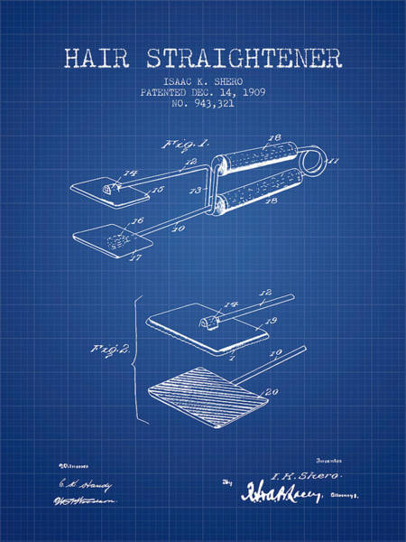 Wall Art - Digital Art - Hair Straightener Patent From 1909 - Blueprint by Aged Pixel