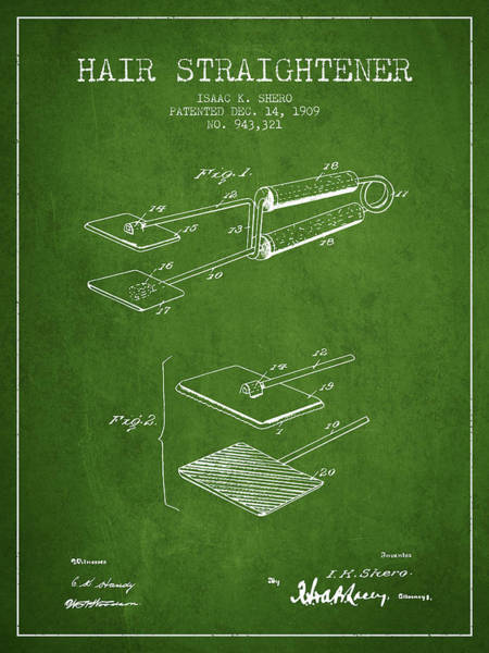 Wall Art - Digital Art - Hair Straightener Patent From 1909 - Green by Aged Pixel
