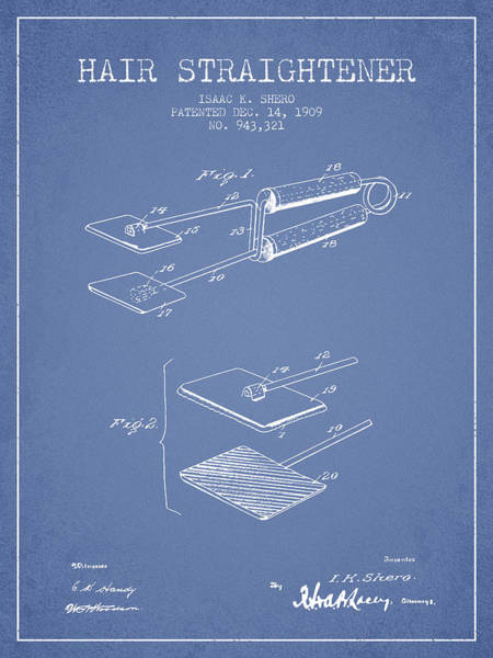 Wall Art - Digital Art - Hair Straightener Patent From 1909 - Light Blue by Aged Pixel