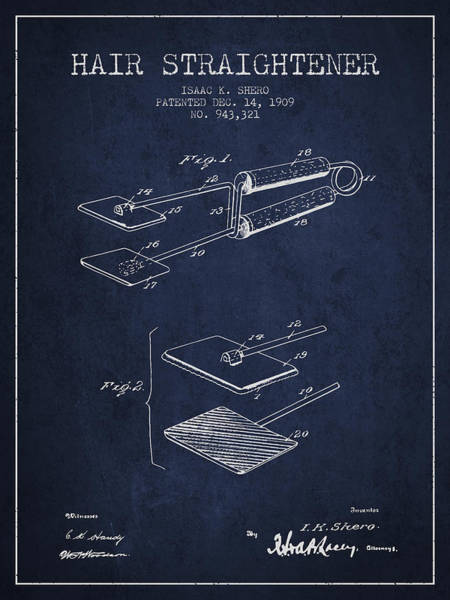 Wall Art - Digital Art - Hair Straightener Patent From 1909 - Navy Blue by Aged Pixel