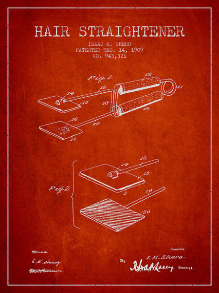 Wall Art - Digital Art - Hair Straightener Patent From 1909 - Red by Aged Pixel