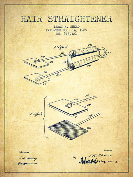 Wall Art - Digital Art - Hair Straightener Patent From 1909 - Vintage by Aged Pixel
