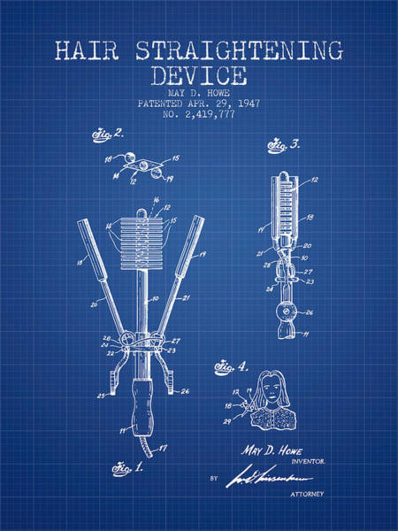 Wall Art - Digital Art - Hair Straightening Device Patent From 1947 - Blueprint by Aged Pixel