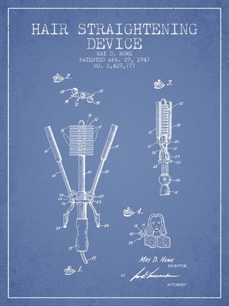 Wall Art - Digital Art - Hair Straightening Device Patent From 1947 - Light Blue by Aged Pixel