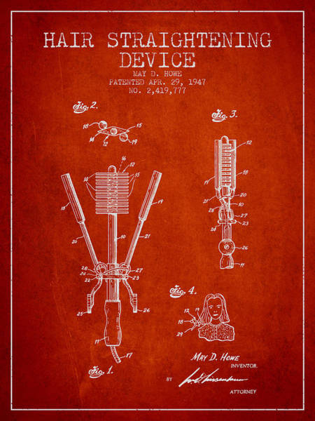 Wall Art - Digital Art - Hair Straightening Device Patent From 1947 - Red by Aged Pixel