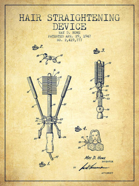 Wall Art - Digital Art - Hair Straightening Device Patent From 1947 - Vintage by Aged Pixel