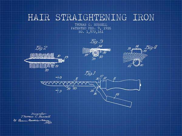 Wall Art - Digital Art - Hair Straightening Iron Patent From 1926 - Blueprint by Aged Pixel