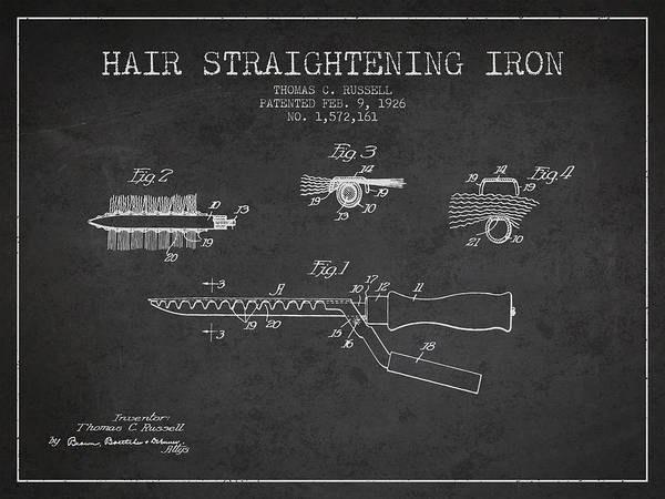 Wall Art - Digital Art - Hair Straightening Iron Patent From 1926 - Charcoal by Aged Pixel