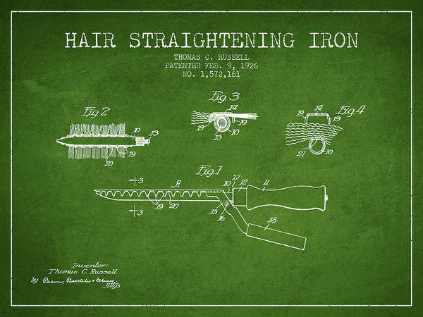 Wall Art - Digital Art - Hair Straightening Iron Patent From 1926 - Green by Aged Pixel