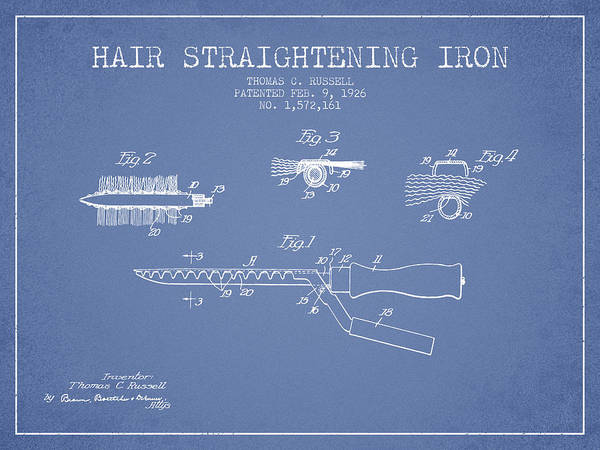Wall Art - Digital Art - Hair Straightening Iron Patent From 1926 - Light Blue by Aged Pixel