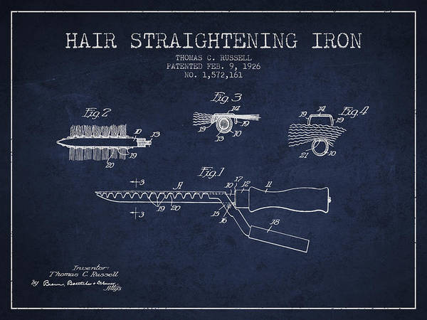 Wall Art - Digital Art - Hair Straightening Iron Patent From 1926 - Navy Blue by Aged Pixel