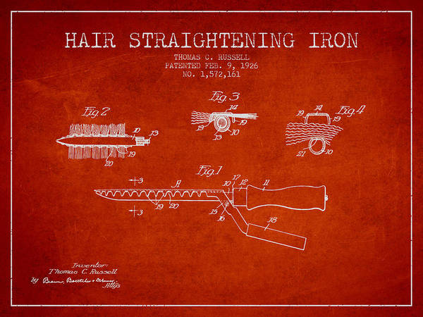 Wall Art - Digital Art - Hair Straightening Iron Patent From 1926 - Red by Aged Pixel