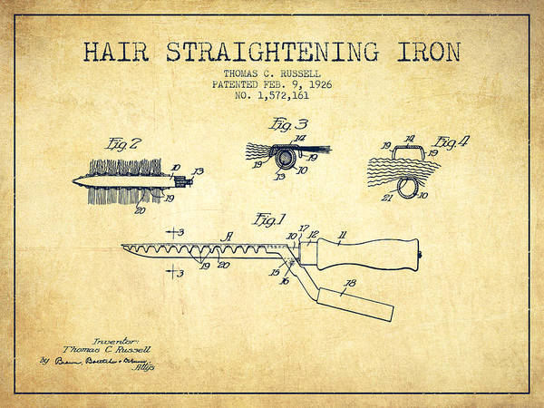 Wall Art - Digital Art - Hair Straightening Iron Patent From 1926 - Vintage by Aged Pixel