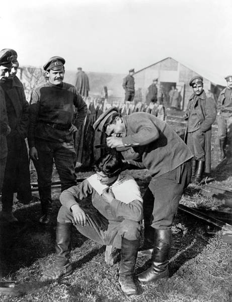 Photograph - Haircut For The Troops by Underwood Archives