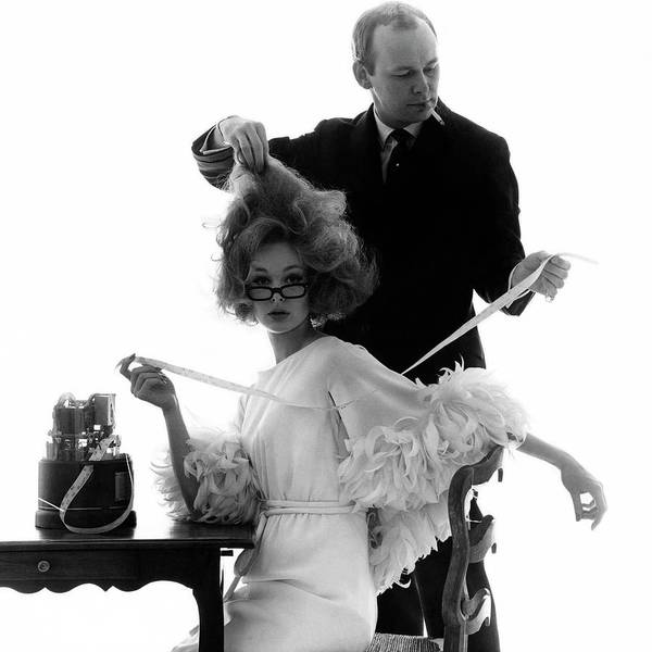 Two People Photograph - Hairstylist Kenneth Holding The Hair Of A Model by Bert Stern