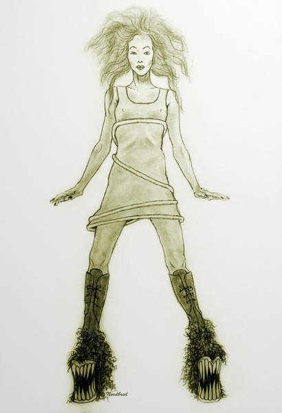 Drawing - Hairy Boots by Tine Nordbred